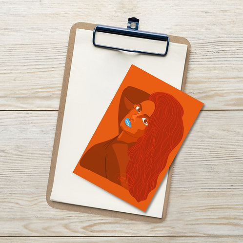 Orange color flat illustration woman portrait Standard Postcard