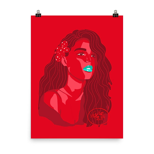 Limited color woman portrait  Lady in red Poster