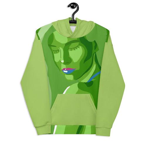 Like green fashion woman portrait Unisex Hoodie