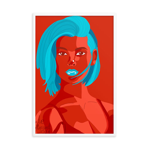 Bright red and blue female portrait Framed poster
