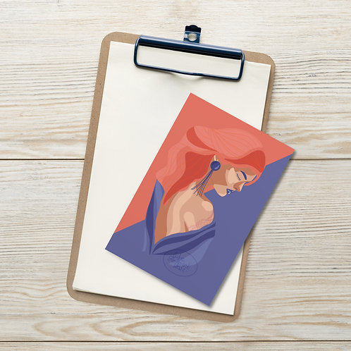 Woman flat color illustration|fashion illustration|fashionistaStandard Postcard
