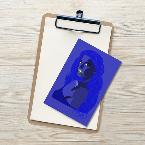 Blue lagoon fashion woman portrait illustration Standard Postcard