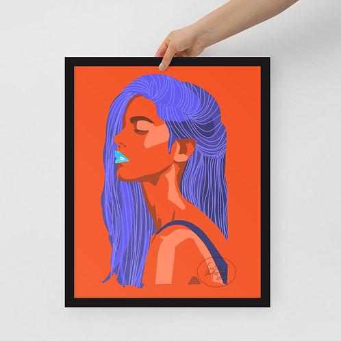 Fashio illustration  Limited color woman portrait Framed poster