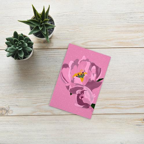 Pink peony botanical flowers Standard Postcard
