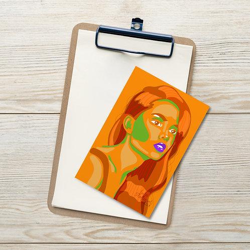 Orange green female fashion portrait Standard Postcard