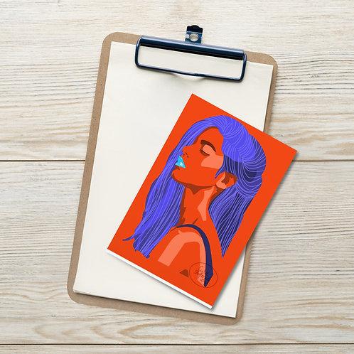 Fashion illustration  woman portrait  blue and orange Standard Postcard