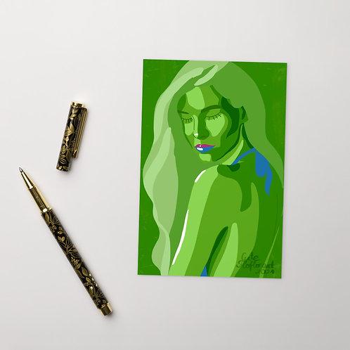 Green lime color woman fashion portrait Standard Postcard