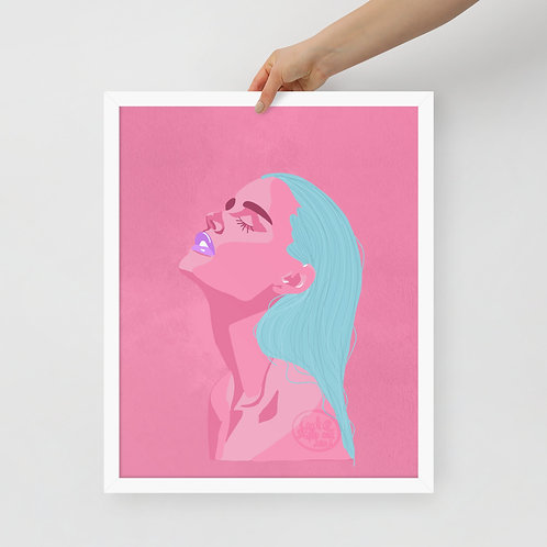 Limited color fashion woman portrait Framed poster