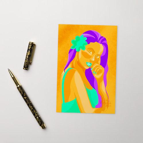 3 colors fashion woman portrait Standard Postcard