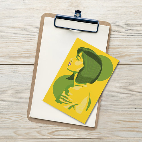Lemon woman fashion illustration portrait Standard Postcard