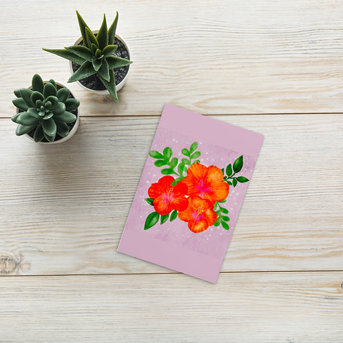 Watercolor floral hibiscus flowers illustration Standard Postcard