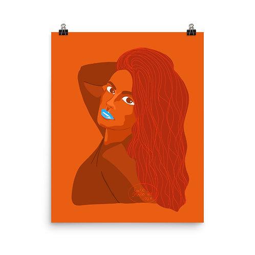 Orange fashion mood lady portrait Poster