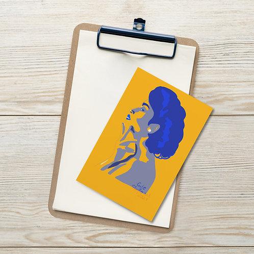 Yellow blue woman fashion illustration   flat colors portrait Standard Postcard