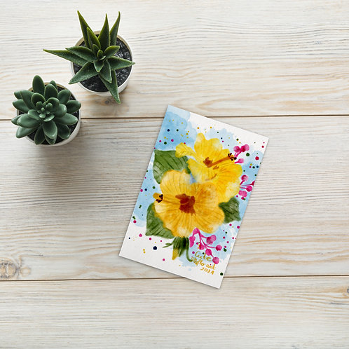 Yellow hibiscus watercolor Standard Postcard