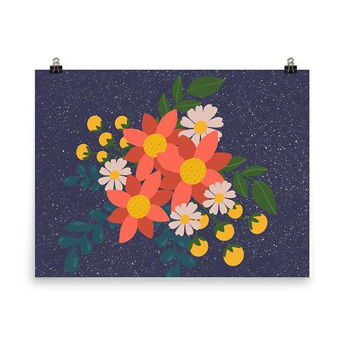 Flat color floral botanical Poster