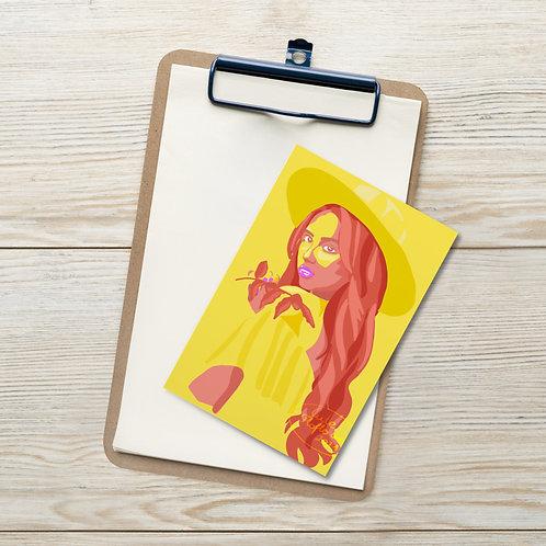 Summer beach girl with the hat portrait Standard Postcard