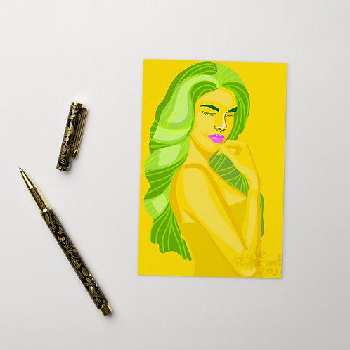 Citron lemon yellow woman fashion portrait Standard Postcard