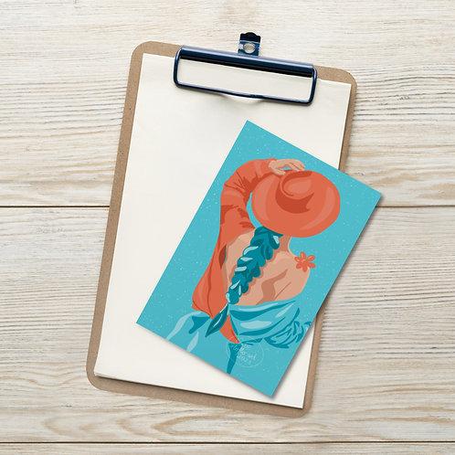 Summer fashion woman limited color portrait illustration Standard Postcard