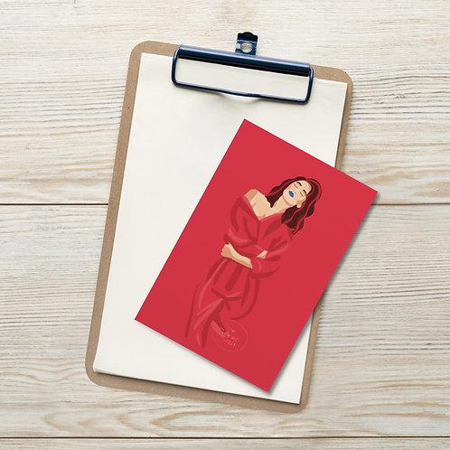 Red fashion color portrait  woman illustration Standard Postcard