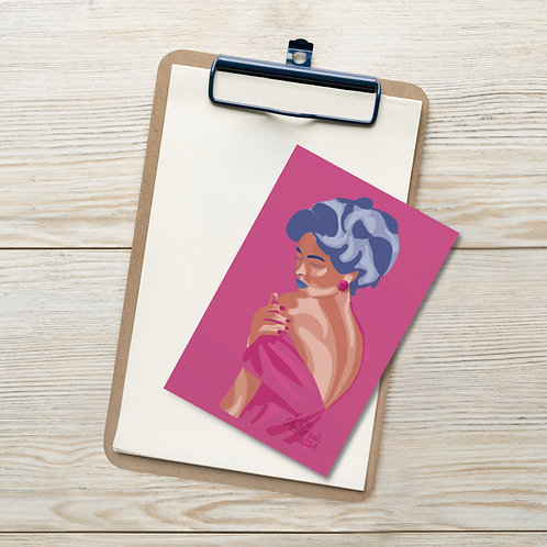 Pink fashion limited color portrait illustration Standard Postcard