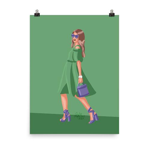 Fashion illustration| Limited color fashion portrait| Woman fashion Poster