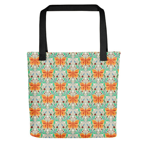 Orange butterfly and ladybug fashionista summer woman Tote bag