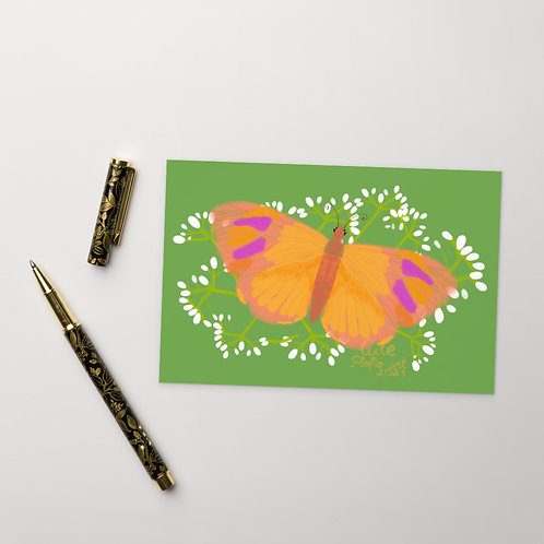 Colorful butterfly and flowers Standard Postcard