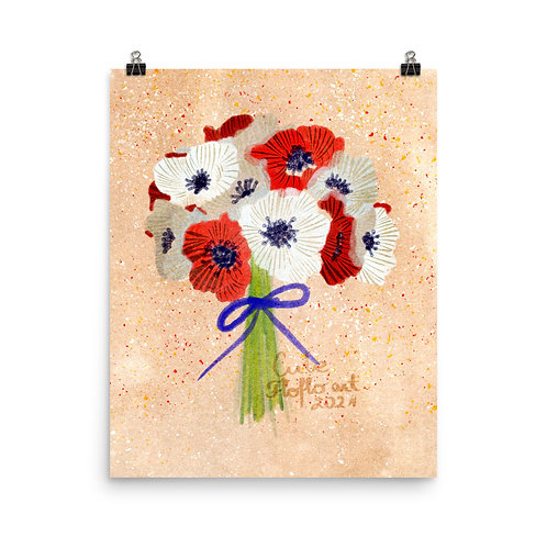 Poppies flowers bouquet Poster
