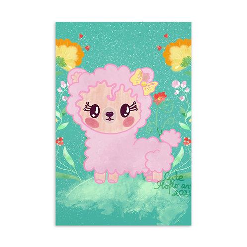 Cute kawaii lama postcard
