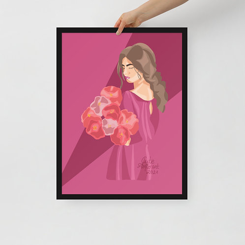 Fashion Limited color woman portrait  Woman with flowers Framed poster
