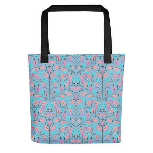 Blue floral flowers summer woman beach Tote bag