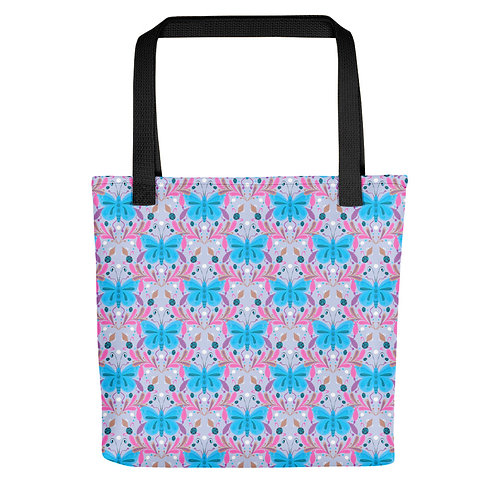 Butterfly and ladybug flowers woman summer beach Tote bag