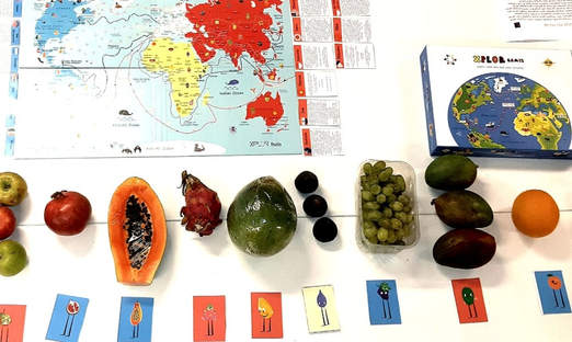Everything in place to start the workshop (we tasted 12 fruits)