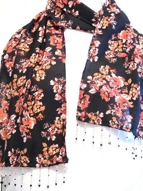 Black and Coral Floral Scarf