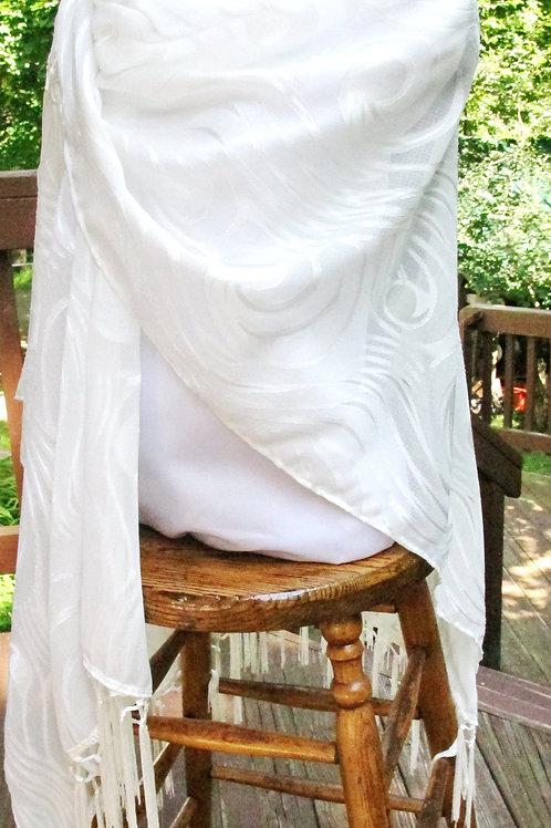 White Scrolled Chiffon Wrap