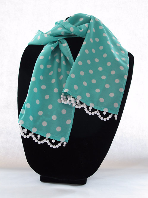 Turquoise with White Polka Dots Scarf