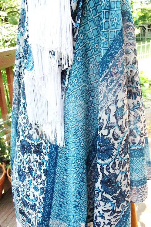 Shades of Blue Border Print Chiffon Wrap