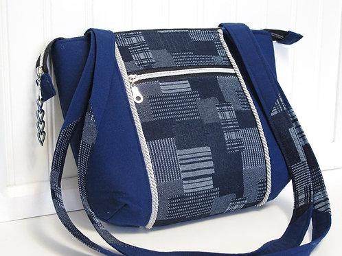 Blue Denim Patch Shoulder Bag