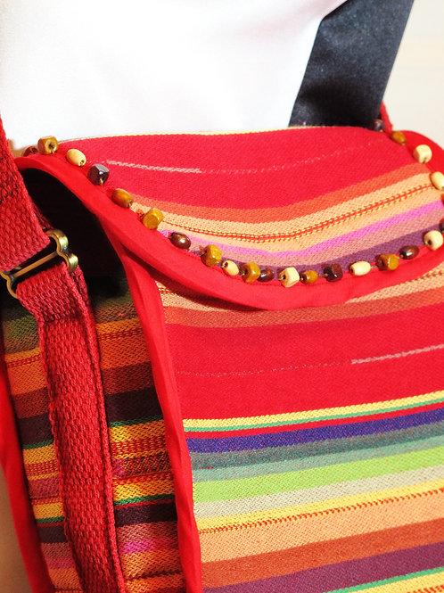 Red Woven Stripe Shoulder Bag