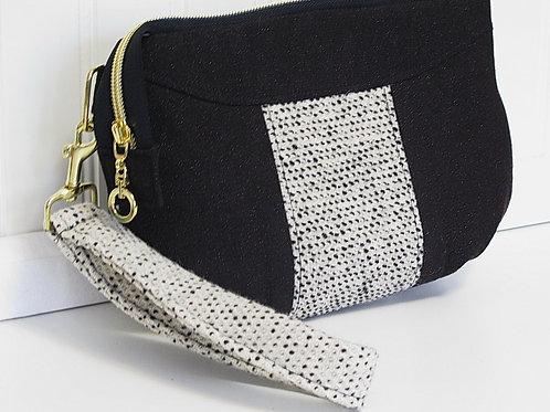 Beige and Brown Wool Wristlet