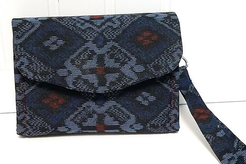 Navy Geometric Silk Wallet