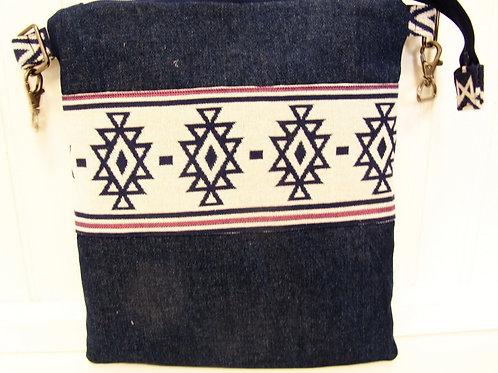 Blue Denim and Geometric Shoulder Bag