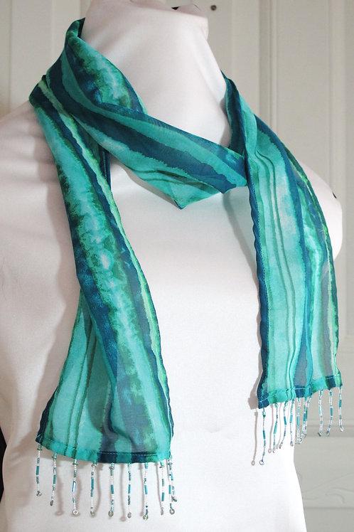 Green Blue Striped Scarf