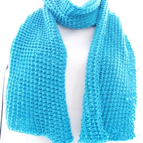 Hand Knit Turquoise  Scarf