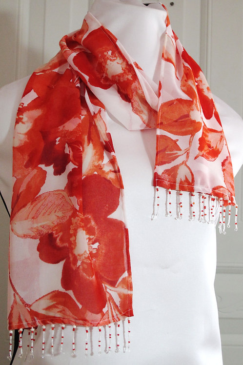 Coral and White Chiffon Scarf