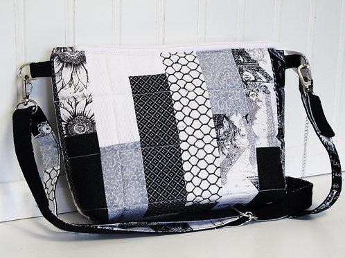 Black and White Patchwork Shoulder Bag