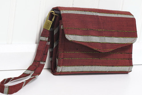 Burgundy Stripe Silk Wallet