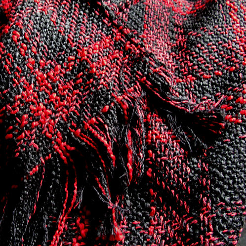 Black and Red Plaid Boucle Shawl
