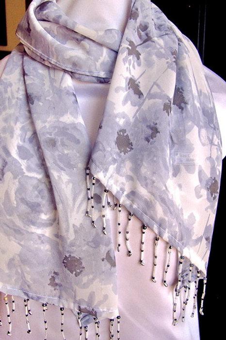 Soft Grey Floral Scarf