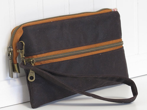 Brown Waxed Canvas Wristlet